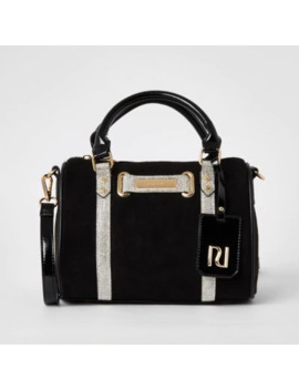 Black Diamante Embellished Bowler Bag by River Island