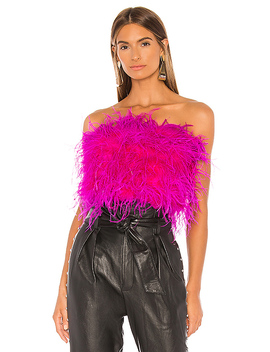 Feather Bustier In Pink Shock by Bardot