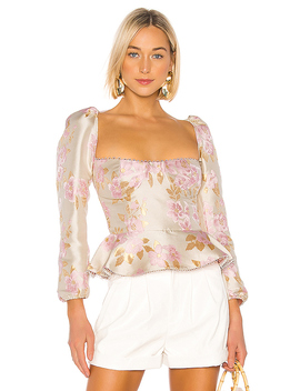 Georgiana Blouse In Light Pink Baroque Floral by V. Chapman