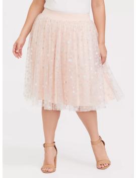 Blush Pink Star Tulle Midi Skater Skirt by Torrid