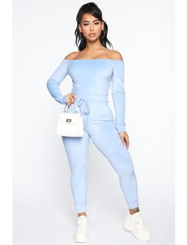 Need A Hug Velour Jumpsuit   Blue by Fashion Nova