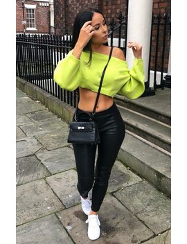 Lime Oversized Crop Knit Jumper   Toni by Femme Luxe
