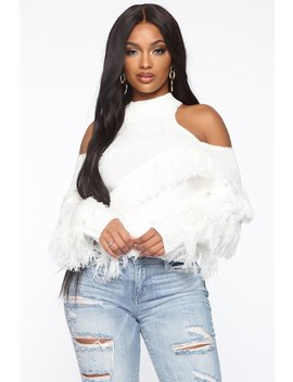 Giving You That Cold Shoulder Sweater   White by Fashion Nova