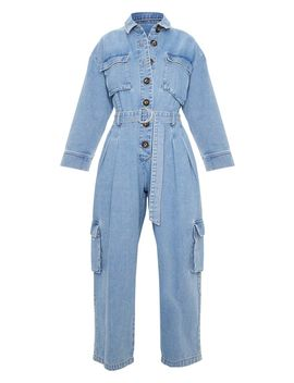 Mid Wash Oversized Cropped Denim Boilersuit  by Prettylittlething