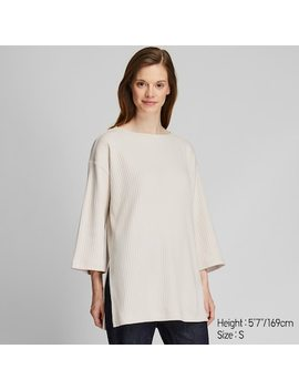 Women Ribbed Relaxed Fit 3/4 Sleeved Tunic (7) by Uniqlo