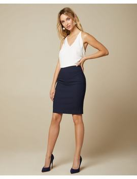 Navy Pinstripe Pencil City Skirt   21'' by Rw & Co