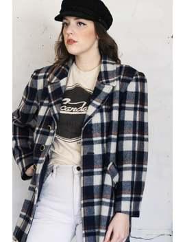 Vintage Plaid Coat, Vintage Wool Plaid Pea Coat, 1970s Plaid Coat, Vintage Plaid Coat, Vintage Fall Coat, 70s Coat by Etsy