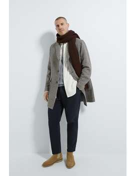 Karierter Mantel Mit Strukturmuster by Zara