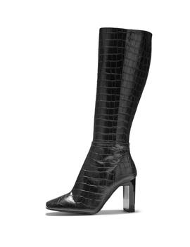 Bailey Black Croc Leather Knee High Heeled Boot by Sosandar