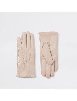 Beige Leren Handschoenen Verfraaid Met Siersteentjes by River Island