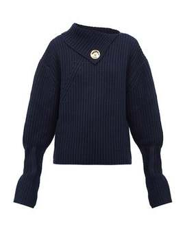 Draped Neckline Ribbed Wool Blend Sweater by Jw Anderson