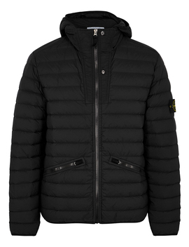 Black Quilted Nylon Jacket by Stone Island