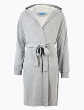 Supersoft Cotton Jersey Hooded Dressing Gown by Marks & Spencer