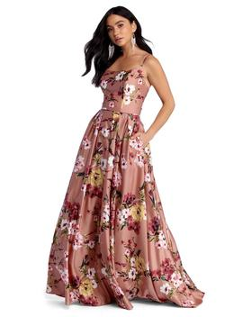 Magdalena Satin Floral Gown by Windsor