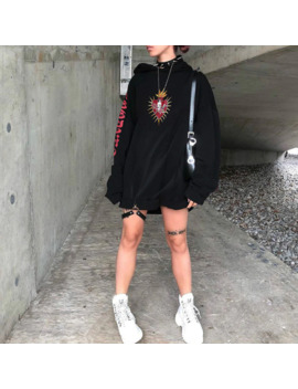 Gothic Printed Hooded Loose Hoodies Women Streetwear Pullover Black Sweatshirt Spring Autumn Fashion Hoodie Womens Tops Clothes by Ali Express.Com