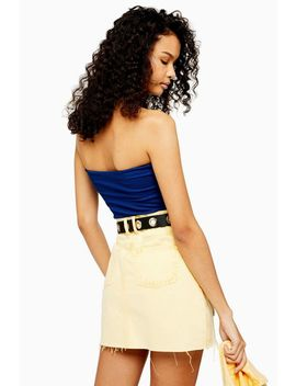 Blue Ribbed Bandeau Top by Topshop