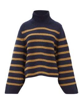 Molly Roll Neck Striped Cashmere Sweater by Khaite