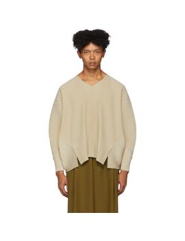 驼色褶裥 V 领长袖 T 恤 by Homme PlissÉ Issey Miyake