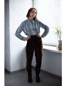 Vintage 70's Brown Suede High Waisted Trousers by Etsy
