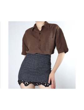 Vintage Brown Short Sleeved Silk Linen Buttton Up Small Shirt Blouse by Etsy