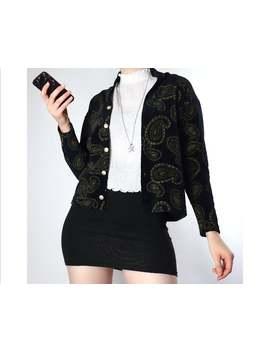 Vintage Black Velvet Paisley Patterned Buttoned Cardigan Blazer by Etsy