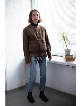 Vintage 80's Brown Suede Looks Bomber Jacket by Etsy