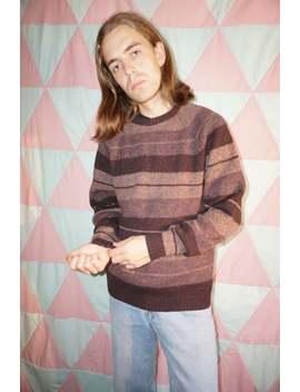 Vintage 90s Grunge Brown Stripe Wool Jumper by Etsy
