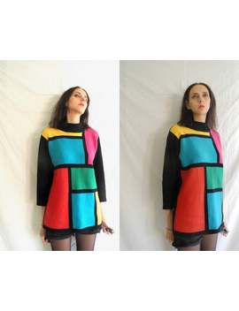90 S Grunge Colour Block, Mondrian Style Knitted Lambswool Jumper/Sweater by Etsy