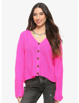 Neon Pink Girls Oversized Cardigan by Hot Topic