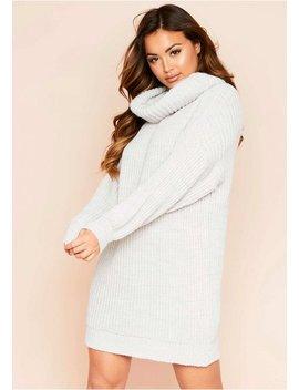 Soren Beige Roll Neck Knit Jumper Dress by Missy Empire