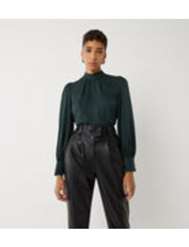 Jacquard Pleat Neck Top by Warehouse