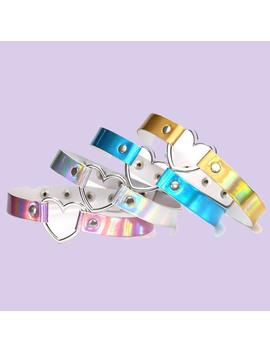 Holographic Choker Heart Aesthetic Necklace by Aestheti Cat
