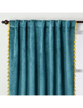 Velvet Curtain Panel With Tassels   Opalhouse™ by Opalhouse