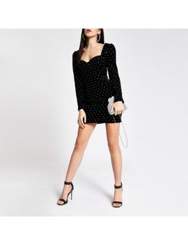 Black Velvet Studded Long Sleeve Mini Dress by River Island