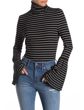 Kenzie Bell Sleeve Striped Turtleneck by Paige