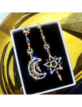 Pop Lop   Non Matching Rhinestone Moon & Star Dangle Earring by Pop Lop
