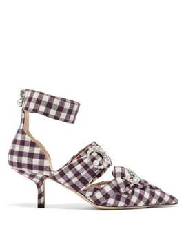 Crystal Embellished Checked Pumps by Midnight 00
