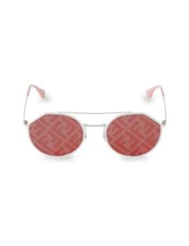 54 Mm Notched Aviator Sunglasses by Fendi