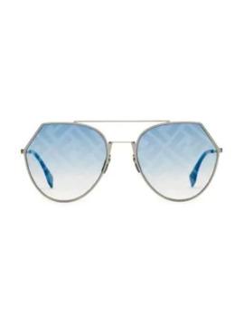 55 Mm Notched Aviator Sunglasses by Fendi