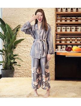 <Span><Span> Luxurious Ladies Womens Oriental Golden Cranes Kimono Pyjama Pajama Ladpj150</Span></Span> by Ebay Seller