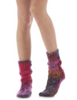 Ladies 1 Pair Elle Space Dye Slubby Cable Slipper Socks by Sock Shop
