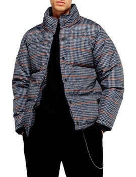 Plaid Puffer Jacket by Topman