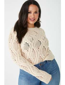 Plus Size Open Cable Knit Sweater by Forever 21