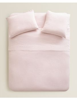 Pink Linen Duvet Cover  Duvet Covers   Bed Linen   Bedroom by Zara Home