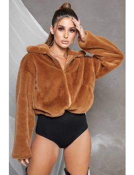 Bombshell Faux Fur Bomber Jacket In Camel by Oh Polly