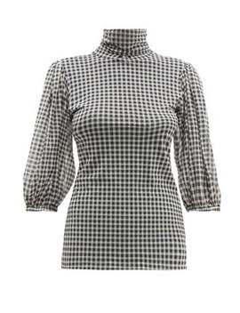 Roll Neck Gingham Mesh Top by Ganni