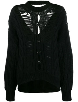 Slashed Cable Knit Cardigan by Diesel Black Gold