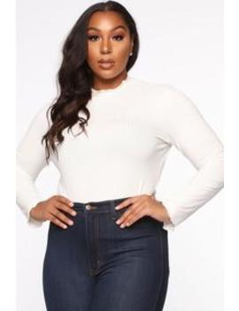 Steppin' Up Mock Neck Top   Off White by Fashion Nova