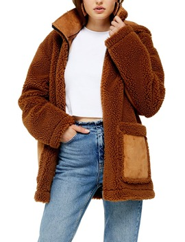 Vinnie Hooded Faux Shearling Jacket by Topshop