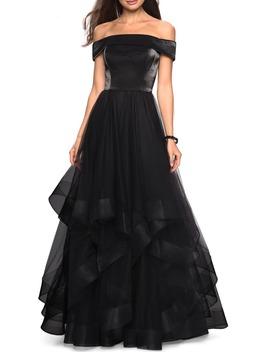 Off The Shoulder Evening Dress by La Femme